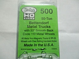 Kadee # 500 Bettendorf 50 Ton Metal Trucks Code 110 Metal Wheels 1 Pair HO Scale image 2