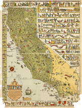 California Decorative Pictorial Wall Map Historical Art Poster Print Decor - $12.38