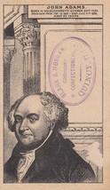 John Adams 2nd President Trade Card Clark & Morgan Cracker Bakers Quincy IL - $9.85