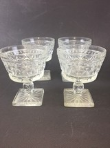 4 Vintage Pressed Glass Desert/Fruit Pedestal/Square Bottom  Glasses - $9.90
