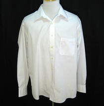 Ralph Lauren Chaps Mens Solid White Button Front Dress Shirt (Size Xl 17 17.5) - $12.95