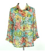 ALFRED DUNNER Size 16 Sheer Mosaic Print Blouse Top - $21.99