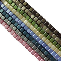 Satin Pastel 6mm Square Czech Czechmate Glass Two Hole Tile Bead Approx 200 - $25.22