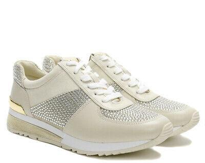Michael Kors MK Women's Allie Wrap Trainer Glitter Sneakers Shoes Pale Gold