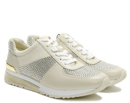Michael Kors MK Women's Allie Wrap Trainer Glitter Sneakers Shoes Pale Gold
