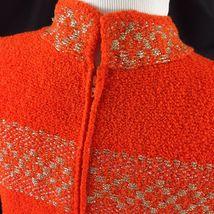 Vtg St John Knits Wiggle Groovy Hostess Sweater Dress Orange Gold Metallic M image 8