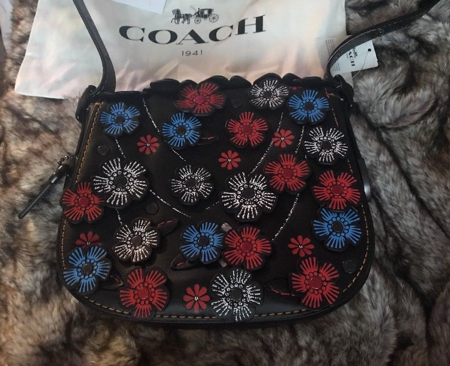 Nwt coach tea rose applique leather flower and 45 similar items