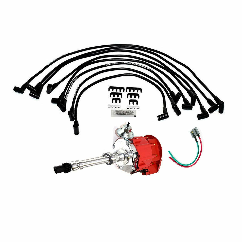SBC Chevy 283 329 350 383 HEI Distributor & 8mm  SPARK PLUG WIRES