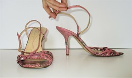 Kate Spade Heels Sandals 9 1/2 B Women ankle strap pink gray sparkly snake print - $44.54