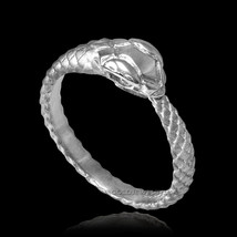 14K White Gold Ouroboros Tail Biting Snake Ring Band - £121.95 GBP