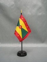 "GRENADA 4X6"" TABLE TOP FLAG W/ BASE NEW DESK TOP HANDHELD STICK FLAG - $4.95"