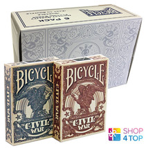 6 DECKS BICYCLE CIVIL WAR 3 BLUE AND 3 RED PLAYING CARDS SEALED BOX CASE... - $35.73