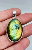 Natural FIRE LABRADORITE gemstone pendant  - $9.55