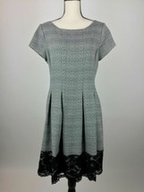 Jessica Howard Fit And Flare Dress Women 14 Gray Black Lace Hem Cap Slee... - €17,47 EUR