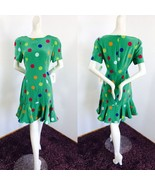 NOS Vintage OLEG CASSINI 100% Silk Spring Green Holiday Cocktail Dress s... - $225.00