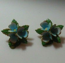 Signed Austria Gold-tone Blue & Green Enamel Flower Earrings  - $34.65