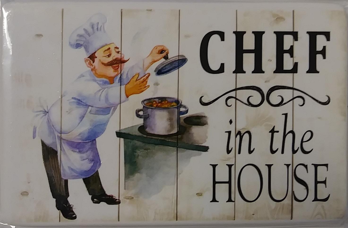 FAT CHEF FRIDGE MAGNETS 2pc Set Ceramic 4in x 2.5in Never Trust Skinny Cook NEW