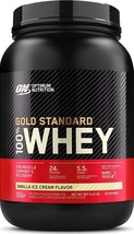 Vanilla Ice Cream, 2 Pound Optimum Nutrition Gold Standard 100% Whey Protein Pow - $35.99