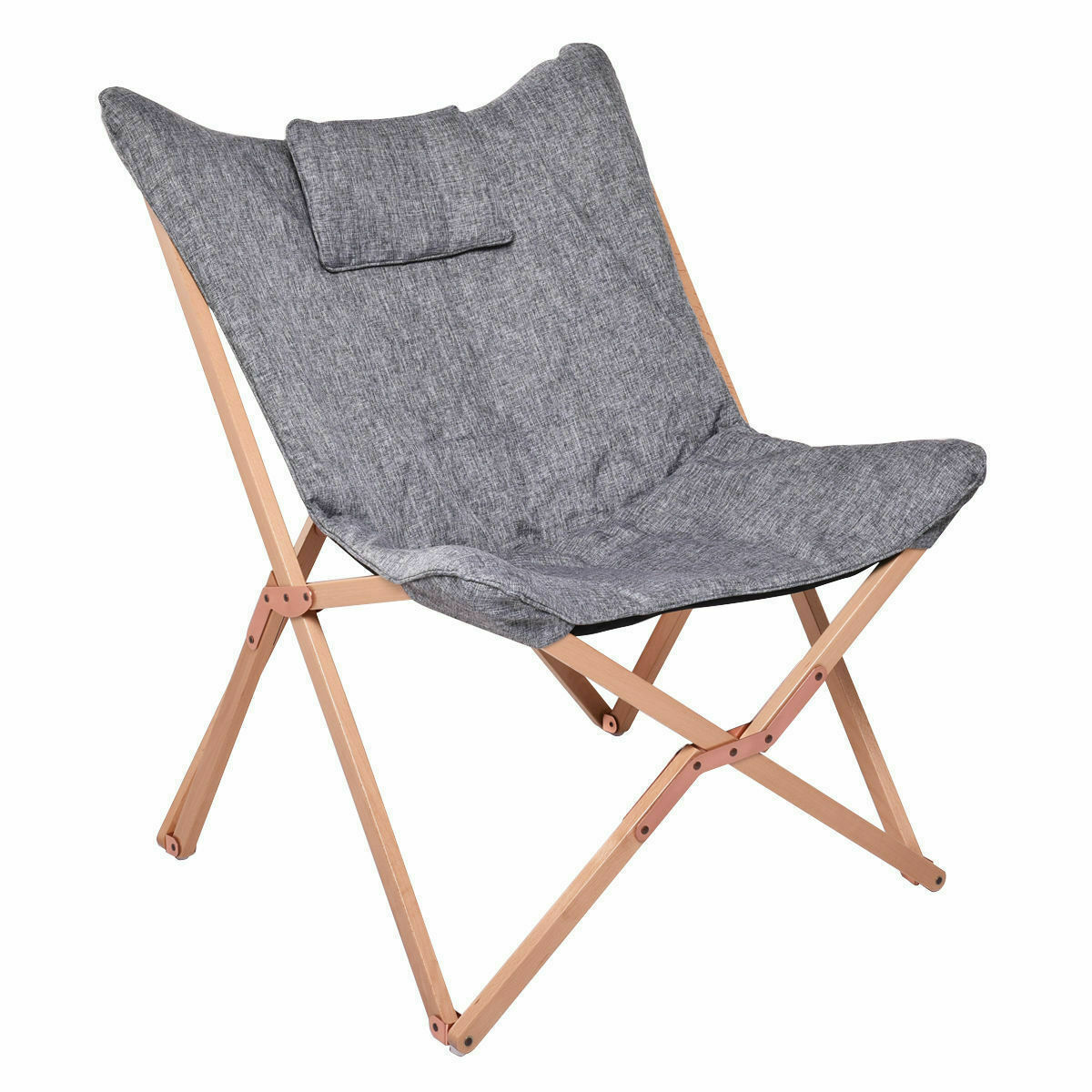 REMSOFT® Butterfly Chair Camping Folding Chair Outdoor Indoor Furniture Wood Fra