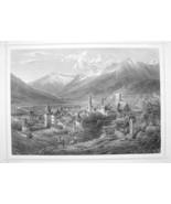 ITALY Meran Merano South Tyrol - 1870s Original Engraving Print - $30.22