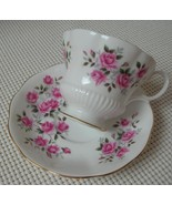 SMALL PINK ROSES Royal Albert China FOOTED TEA CUP & SAUCER Pat. ROA100 - $16.48