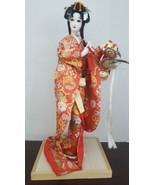 "VTG 17"" Japanese NISHI Doll Red Coat Kimono Wood Stand - $148.49"
