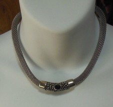 Vintage Silver-tone Mesh Cable W/Black Faceted Stone Choker Necklace  - $36.62