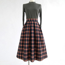 RED PLAID Women Midi Skirt Autumn Classic Plus Size Flannel Long Plaid Skirts image 12