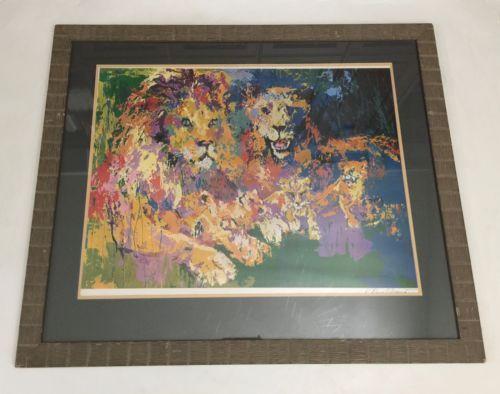 Frame Signed Leroy Neiman Photomechanical Color Process Lions Pride Lion COA