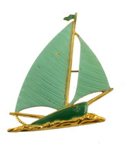 "VINTAGE DECO GREEN ENAMEL LARGE SAIL BOAT PIN GOLD FINISH CHARMING! 2 1/4"" - $40.49"