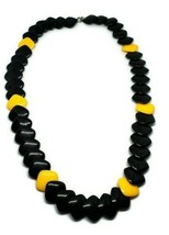 """Vintage 80s Black Yellow Layered Plastic Square Necklace 24.5"""" - £10.86 GBP"""