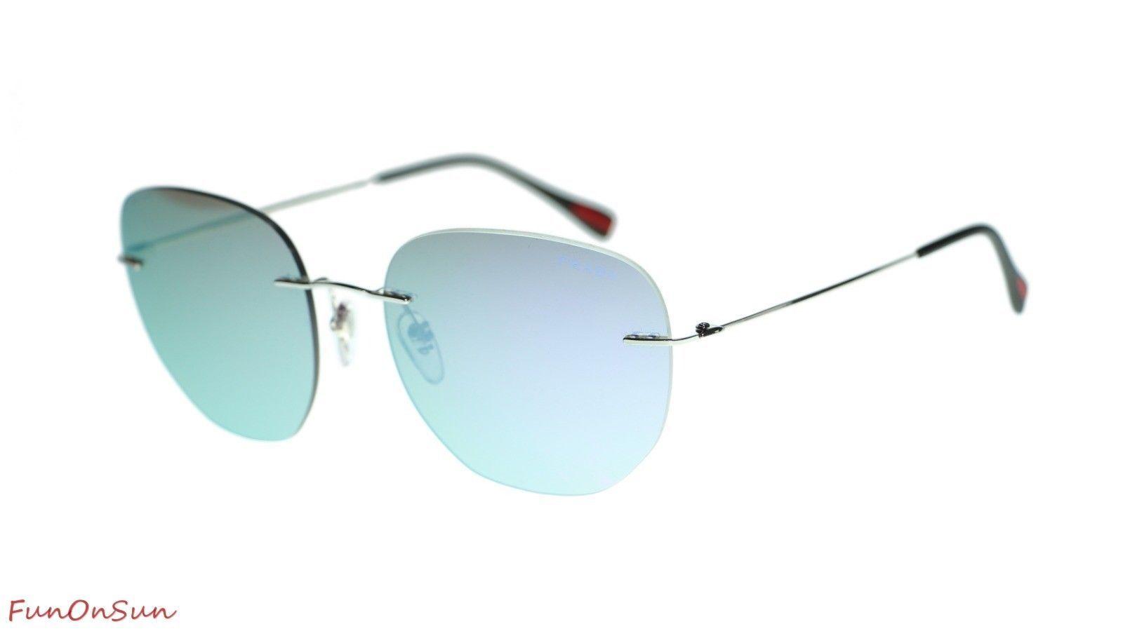 Prada Men Sunglasses PS50TS 1BC129 Silver/Grey Mirror Milky Blue Lens 57mm