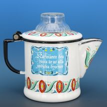 "Vintage Berggren Sweden Porcelain Enamelware Coffee Pot Percolator 6"" 2 Cup image 3"