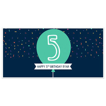 Navy Balloon and Confetti Birthday Banner Party Decoration Backdrop - $22.28+