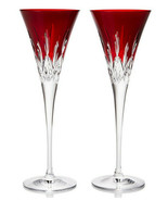 Waterford Crystal Lismore Pops Red Champagne Flutes Pair #40026611 New I... - $369.90