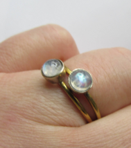 Rainbow Moonstone Ring, 925 Silver and Copper, Size 9 US - $12.99