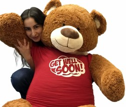 5 Foot Giant Teddy Bear 60 Inch Soft Cinnamon Brown Color in GET WELL SO... - $97.11