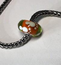 Authentic Trollbeads Unique OOAK Bead Footprint Green/Orange   LAA Stamped New!! - $94.99