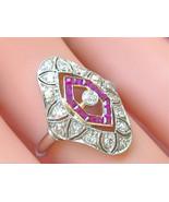 ANTIQUE ART DECO .65ctw DIAMOND RUBY PLATINUM COCKTAIL RIGHT-HAND RING 1930 - $2,899.71