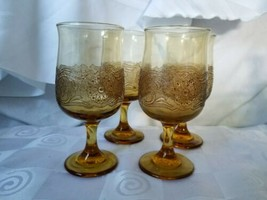 Libbey Amber Glass Water Goblets Raised Brown Lace Overlay Set Of 4 - $41.75