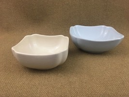 "2 Shenango China Bowl USA Square Ironstone Ivory 5.5"" Platinum Blue 7"" - $24.30"