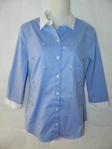 Ann Taylor Shirt Blue Rhinestone Button Up Blouse White Collar Size 4 - $18.52