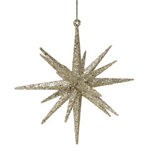 6 Glittered Champagne Gold Geometric Starburst Christmas Ornament - $23.95