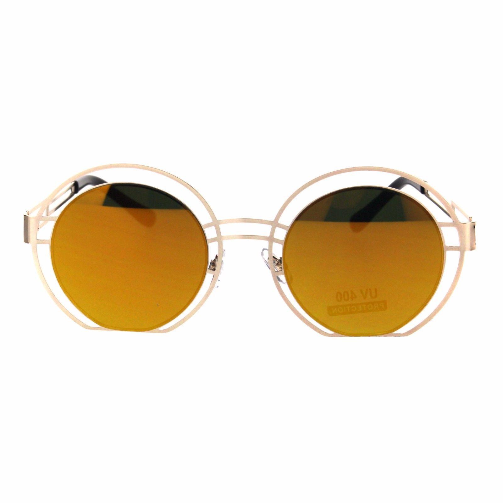 Color Mirror Mid Century Deco Round Metal Rim Retro Sunglasses