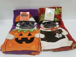 (2) Halloween Fall  Pug Dog Kitchen Towel Decor Set of 2 - $39.99