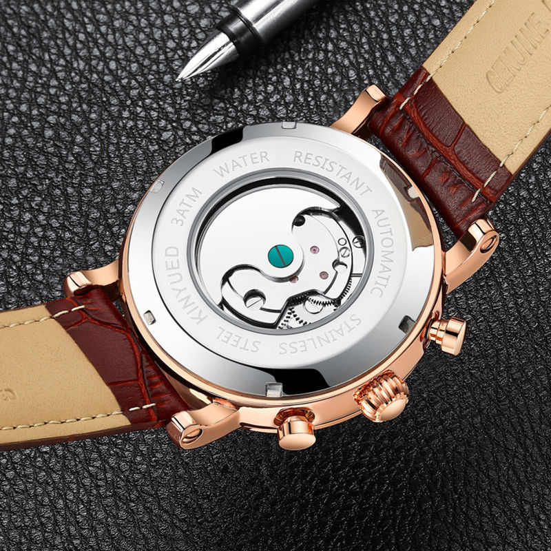 Tourbillon Automatic Mechanical Men's Watches Skeleton Swiss Date Leather Band