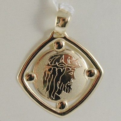 PENDANT MEDAL YELLOW GOLD 750 18K, VOLTO CHRIST, RHOMBUS, SATIN, MADE IN ITALY
