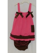I love Baby Two piece Sun Top Ruffled Bloomers Hot Pink Brown Size 3 to4 T - $20.00