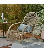 Rustic Cozy Cottage Boho Natural Finish Wicker Adirondack Style Patio Chair - $215.13