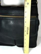 Fossil Vintage Black Leather Multi Pocket Shoulder Bag Brass Tone Hardware image 8